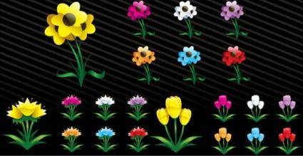 free vector Art flowers
