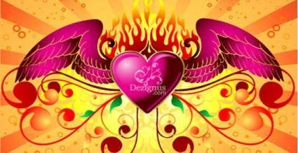 free vector Free winged heart vector