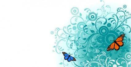 free vector Flowers and Butterfly vector