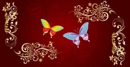 free vector Butterfly and flowers vector
