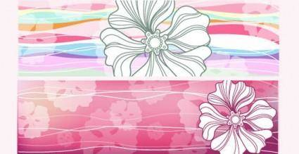free vector Horizontal flowered banners