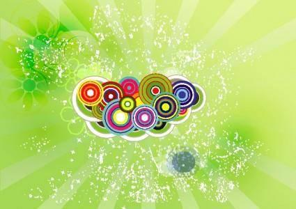 free vector Green Swirly Flowers