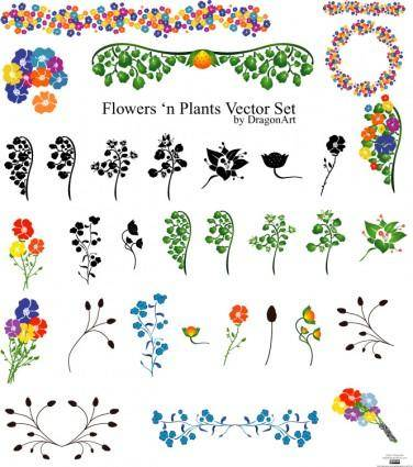 free vector Vectors - Flowers set