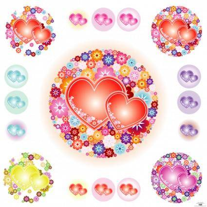 free vector Flowery Hearts