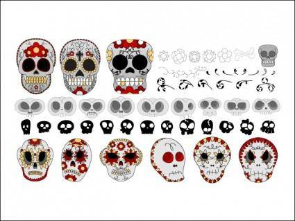 free vector Skulls and Flowers