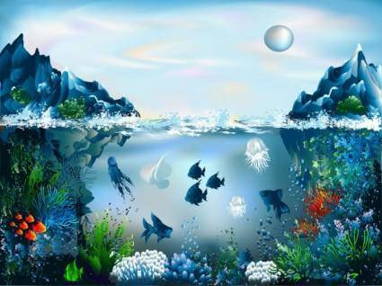 free vector Magnificent underwater world 03 vector