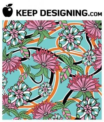 Summer Floral Wallpaper Vector- free