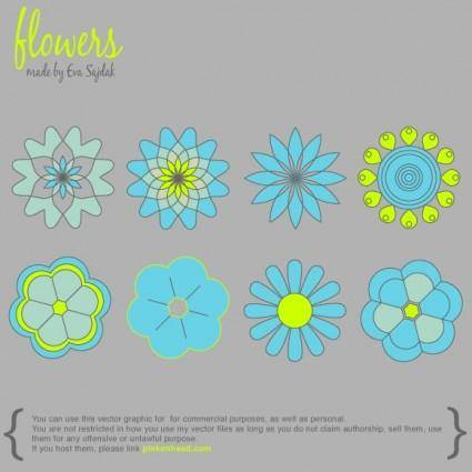 free vector 8 Simple Vector Flowers