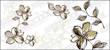 free vector Hand-painted flowers style