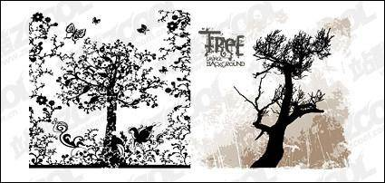 free vector Patterns and silhouettes of trees vector material