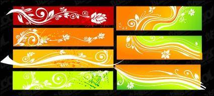 free vector Beautiful color patterns banner vector material