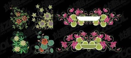 Simple hand-painted patterns vector material