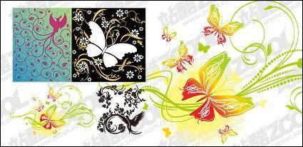 free vector 4, bird or butterfly pattern combination of vector material