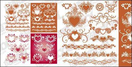 free vector Accommodates a heart-shaped pattern with lace material element vector
