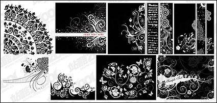free vector 8, black and white pattern vector material
