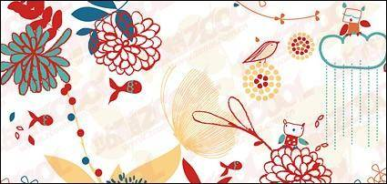 Lovely flowers plant and animal material vector