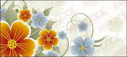 free vector Yellow and blue flowers vector material