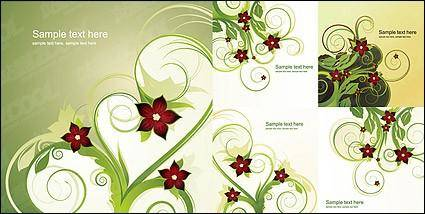 5 Fashion flower pattern vector material