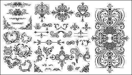 free vector Variety of practical European-style lace pattern vector material