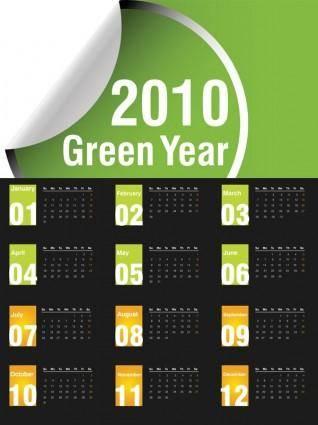 free vector Vector green 2010 calendar