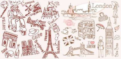 free vector Vector line drawing of paris and london