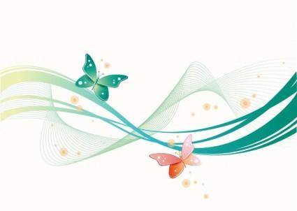 free vector Abstract Wave with Butterfly Background