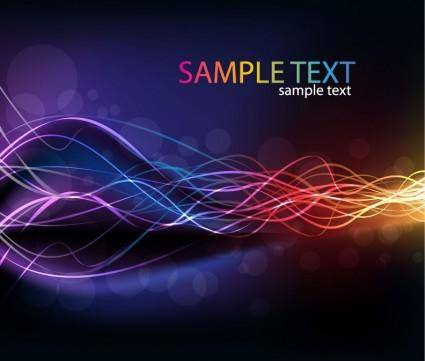 free vector Abstract Glowing Lines of Light with Rainbow Colors Background