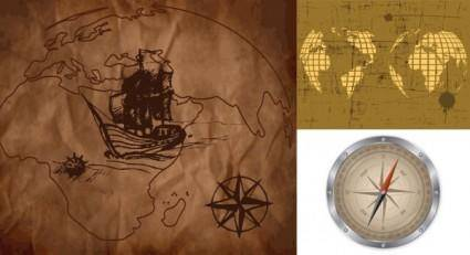 free vector Old map and compass vector