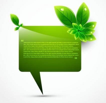 Green leaf shape border 02 vector