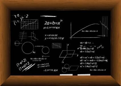 free vector Vector blackboard filled with equations