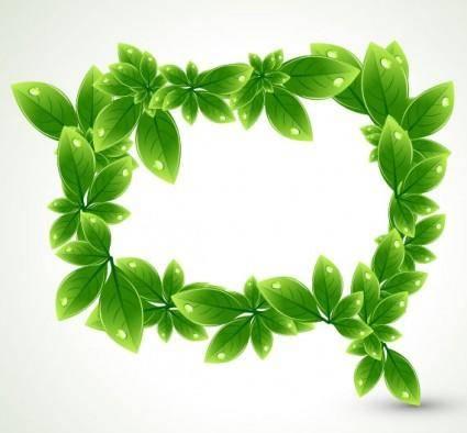 Green leaf shape border 03 vector