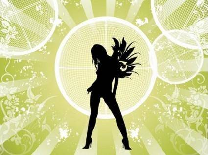 free vector Free Vector Fashion Girl with Abstract Background