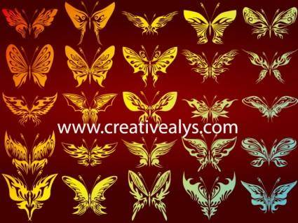 free vector 25 Abstract Butterflies in Vector