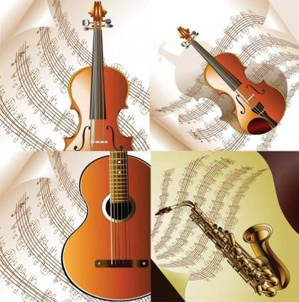 free vector Read music and musical instruments vector