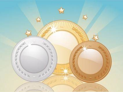 free vector Gold and silver bronze vector