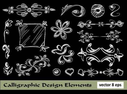 European lace pattern line draft 04 vector
