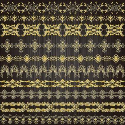 Gold lace pattern 01 vector