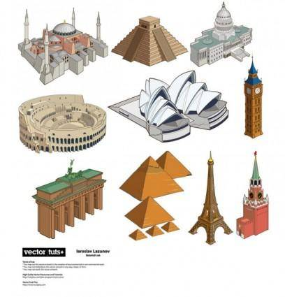 free vector Famous landmarks vector