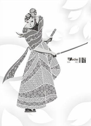 The sakura samurai decorated vector pattern