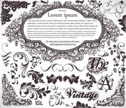 Classic lace pattern 07 vector