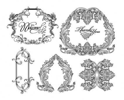 free vector Black and white lace pattern 03 vector