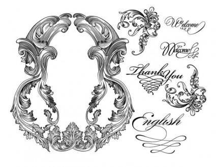 free vector Black and white lace pattern 04 vector