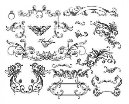 free vector Black and white lace pattern 05 vector