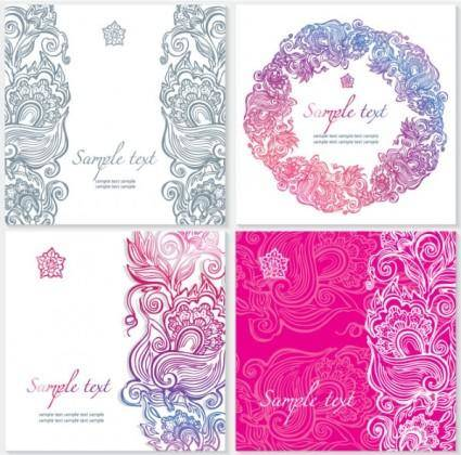 free vector Exquisite pattern card 02 vector