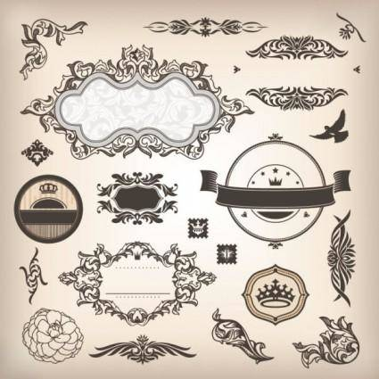 free vector The classic pattern stickers 04 vector