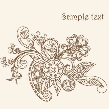 Fine line art pattern 03 vector