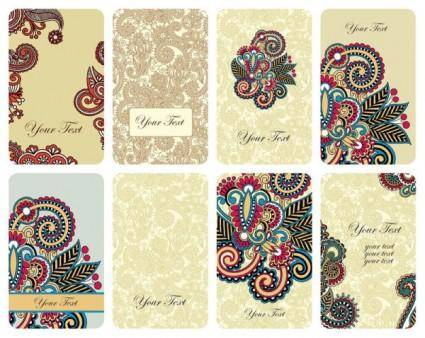 free vector Retro the pattern card vector