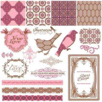 Exquisite lace pattern 01 vector