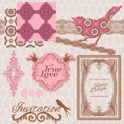 free vector Exquisite lace pattern 04 vector