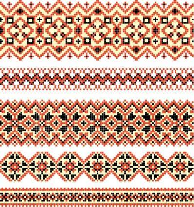 Cross stitch patterns 03 vector